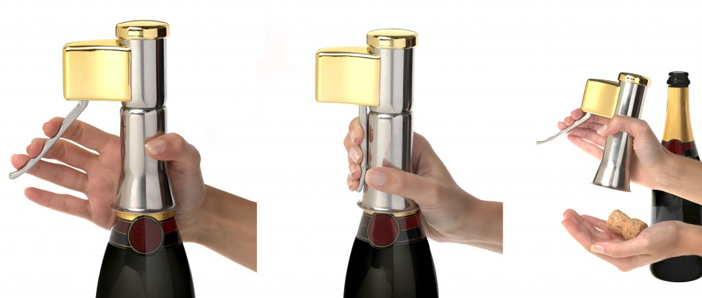 How it works the corkscrew Descorjet Champagne Opener